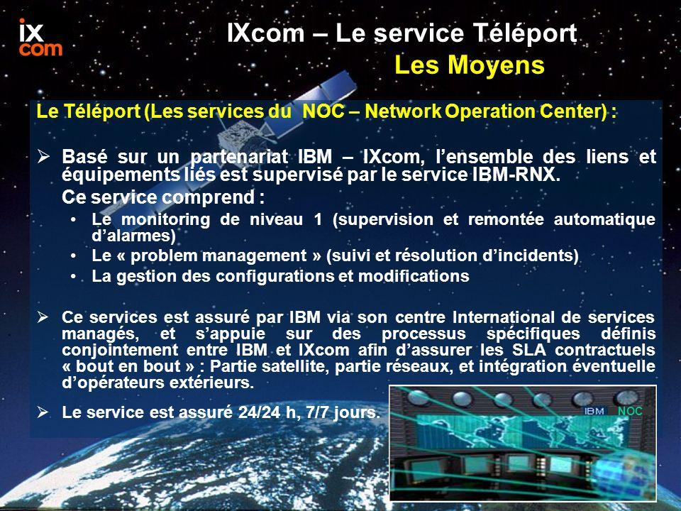 IXcom – Le service Téléport Les Moyens Le Téléport (Les services du NOC – Network Operation Center) : Basé sur un partenariat IBM – IXcom, lensemble des liens et équipements liés est supervisé par le service IBM-RNX.