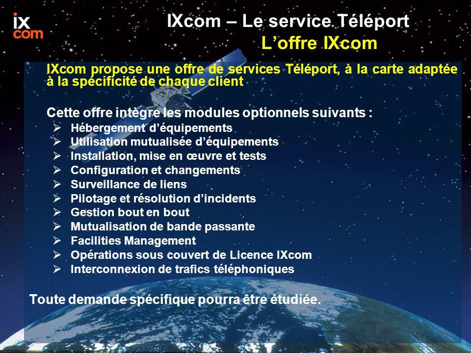 IXcom propose une offre de services Téléport, à la carte adaptée à la spécificité de chaque client Cette offre intègre les modules optionnels suivants