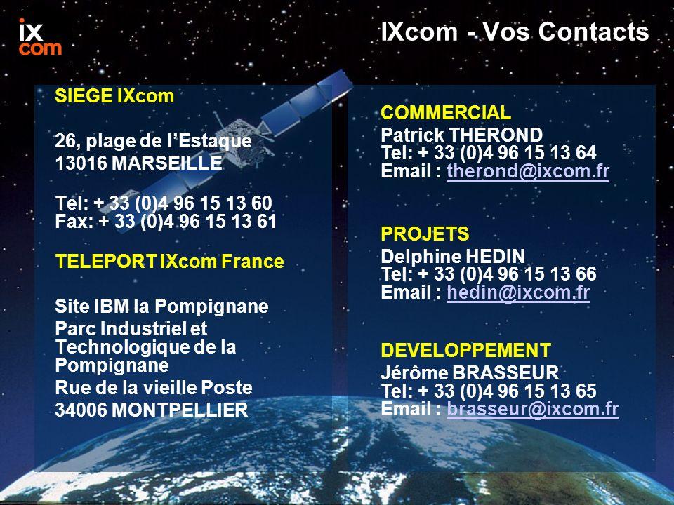 IXcom - Vos Contacts SIEGE IXcom 26, plage de lEstaque 13016 MARSEILLE Tel: + 33 (0)4 96 15 13 60 Fax: + 33 (0)4 96 15 13 61 TELEPORT IXcom France Site IBM la Pompignane Parc Industriel et Technologique de la Pompignane Rue de la vieille Poste 34006 MONTPELLIER COMMERCIAL Patrick THEROND Tel: + 33 (0)4 96 15 13 64 Email : therond@ixcom.frtherond@ixcom.fr PROJETS Delphine HEDIN Tel: + 33 (0)4 96 15 13 66 Email : hedin@ixcom.frhedin@ixcom.fr DEVELOPPEMENT Jérôme BRASSEUR Tel: + 33 (0)4 96 15 13 65 Email : brasseur@ixcom.frbrasseur@ixcom.fr