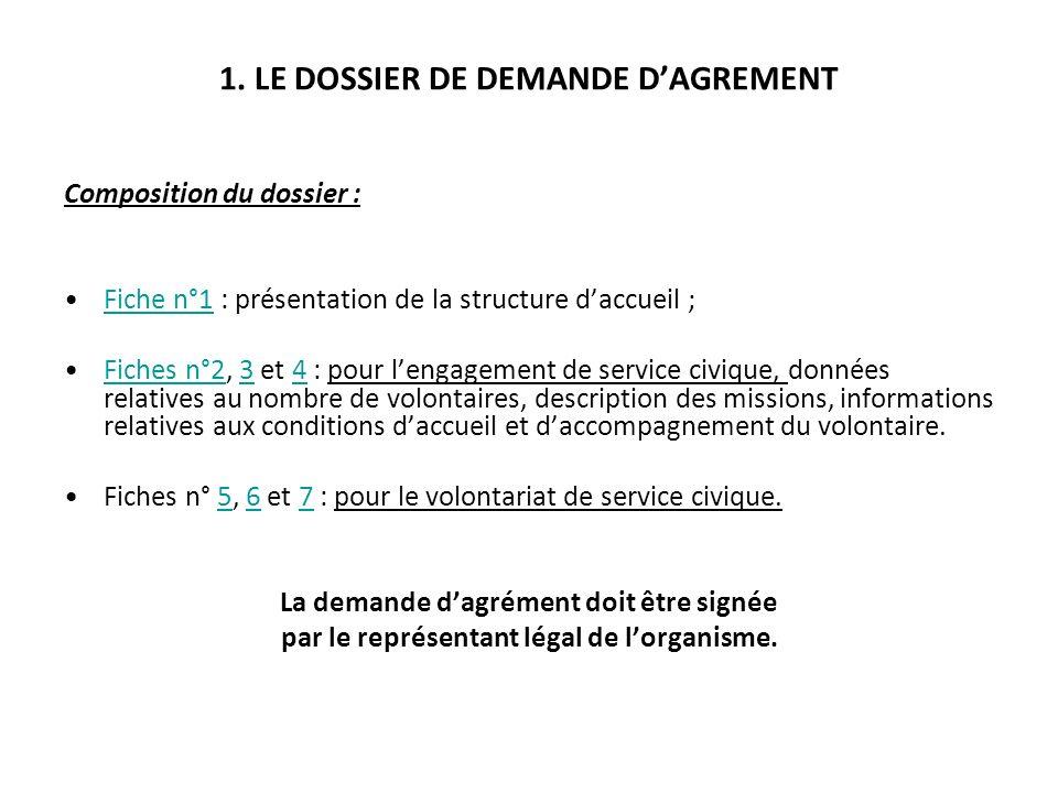 1. LE DOSSIER DE DEMANDE DAGREMENT Composition du dossier : Fiche n°1 : présentation de la structure daccueil ;Fiche n°1 Fiches n°2, 3 et 4 : pour len