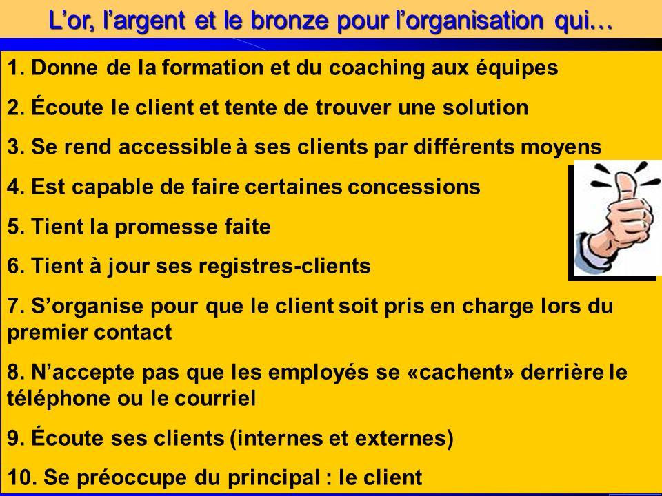 Conférence élaborée par Louise Lahaie Spécialiste des processus en qualité service à la clientèle Lor, largent et le bronze pour lorganisation qui… 1.