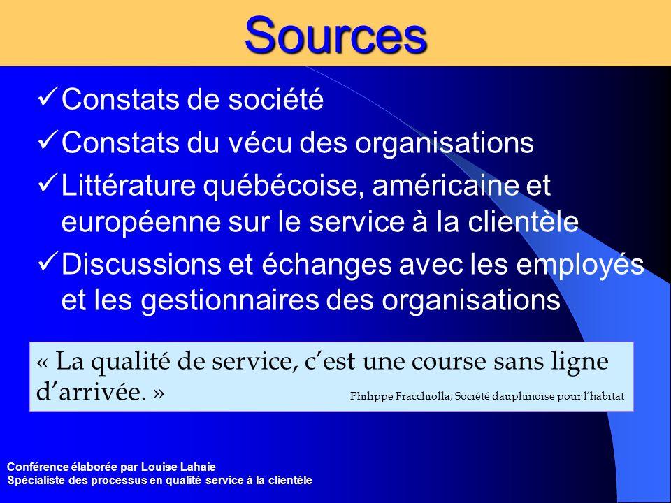Conférence élaborée par Louise Lahaie Spécialiste des processus en qualité service à la clientèleSources Constats de société Constats du vécu des orga