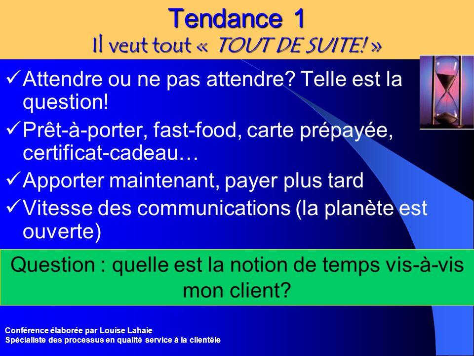 Conférence élaborée par Louise Lahaie Spécialiste des processus en qualité service à la clientèle Tendance 1 Il veut tout « TOUT DE SUITE! » Attendre