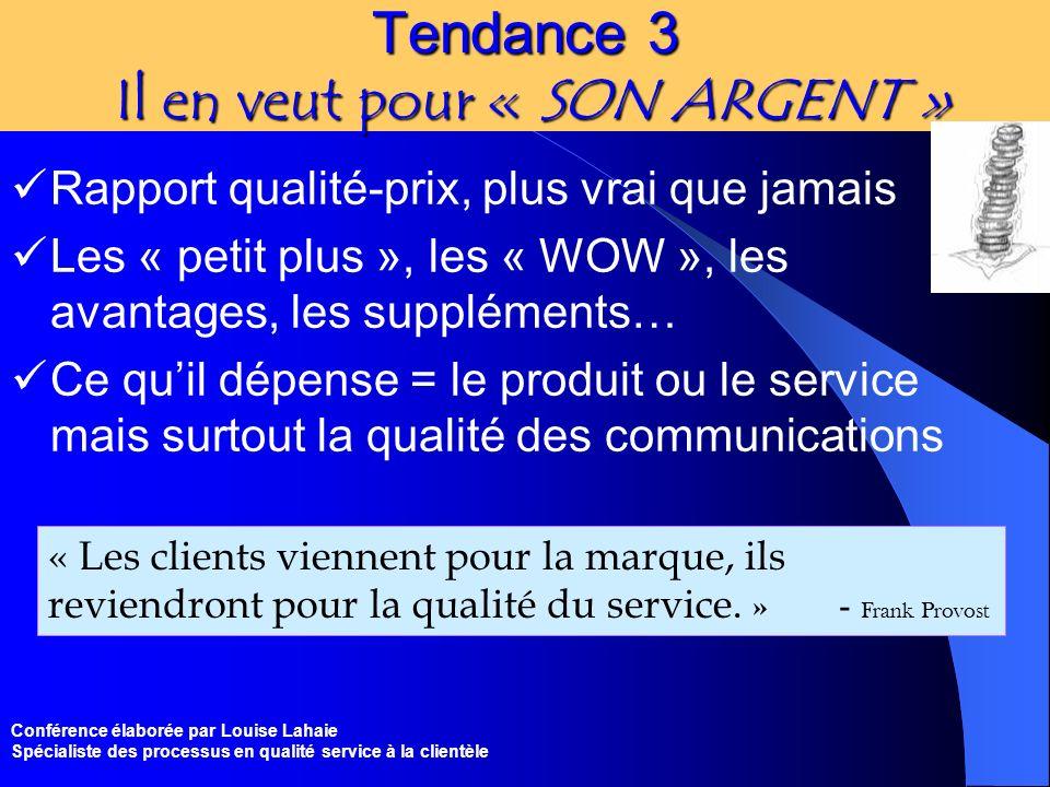 Conférence élaborée par Louise Lahaie Spécialiste des processus en qualité service à la clientèle Tendance 3 Il en veut pour « SON ARGENT » Rapport qu