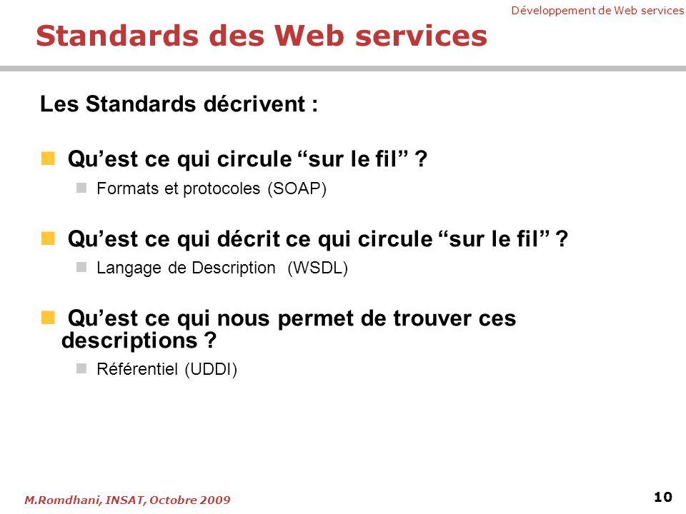 Développement de Web services 10 M.Romdhani, INSAT, Octobre 2009 Standards des Web services Les Standards décrivent : Quest ce qui circule sur le fil