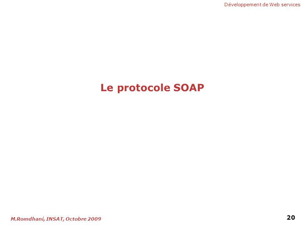 Développement de Web services 20 M.Romdhani, INSAT, Octobre 2009 Le protocole SOAP