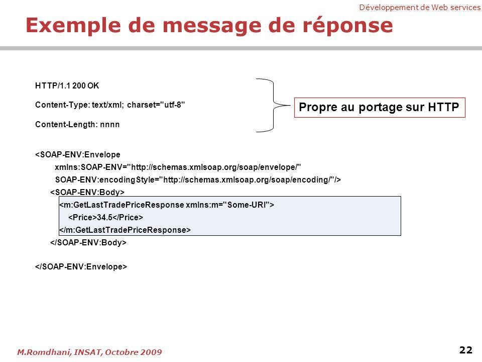 Développement de Web services 22 M.Romdhani, INSAT, Octobre 2009 Exemple de message de réponse HTTP/1.1 200 OK Content-Type: text/xml; charset= utf-8 Content-Length: nnnn 34.5 Propre au portage sur HTTP