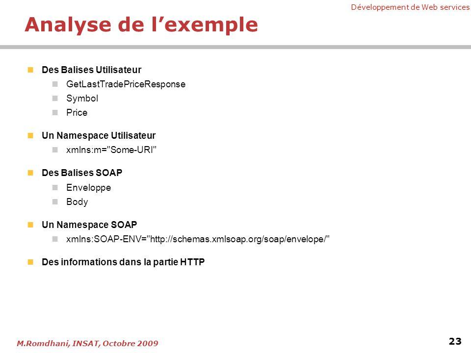 Développement de Web services 23 M.Romdhani, INSAT, Octobre 2009 Analyse de lexemple Des Balises Utilisateur GetLastTradePriceResponse Symbol Price Un Namespace Utilisateur xmlns:m= Some-URI Des Balises SOAP Enveloppe Body Un Namespace SOAP xmlns:SOAP-ENV= http://schemas.xmlsoap.org/soap/envelope/ Des informations dans la partie HTTP