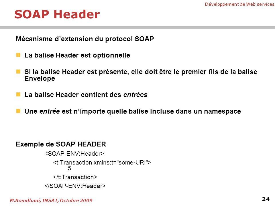 Développement de Web services 24 M.Romdhani, INSAT, Octobre 2009 SOAP Header Mécanisme dextension du protocol SOAP La balise Header est optionnelle Si la balise Header est présente, elle doit être le premier fils de la balise Envelope La balise Header contient des entrées Une entrée est nimporte quelle balise incluse dans un namespace Exemple de SOAP HEADER 5