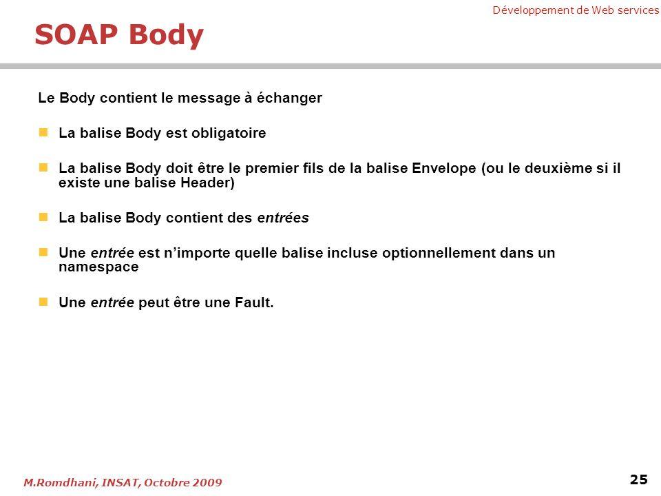 Développement de Web services 25 M.Romdhani, INSAT, Octobre 2009 SOAP Body Le Body contient le message à échanger La balise Body est obligatoire La ba