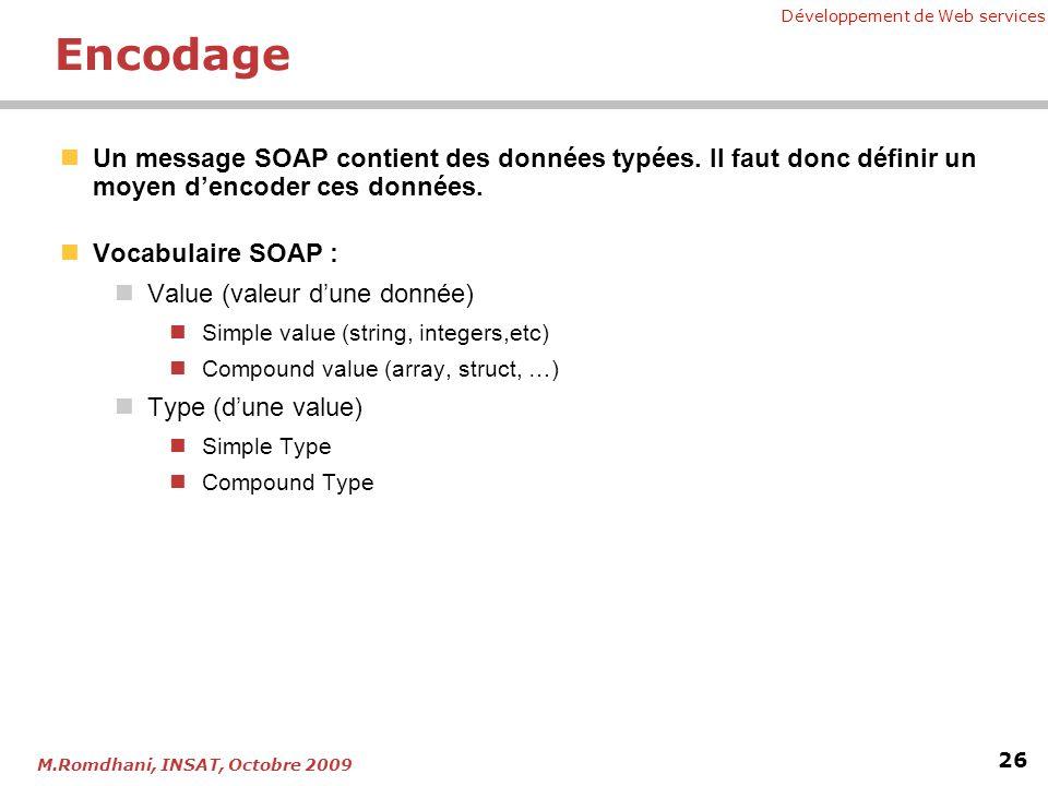 Développement de Web services 26 M.Romdhani, INSAT, Octobre 2009 Encodage Un message SOAP contient des données typées. Il faut donc définir un moyen d