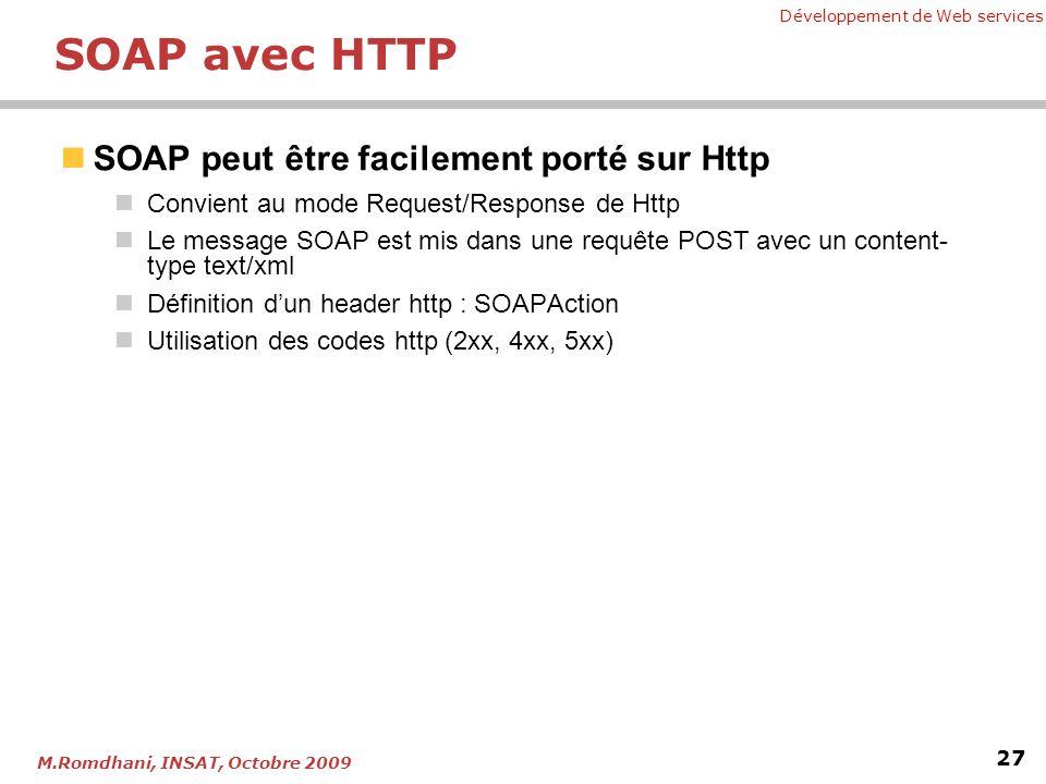 Développement de Web services 27 M.Romdhani, INSAT, Octobre 2009 SOAP avec HTTP SOAP peut être facilement porté sur Http Convient au mode Request/Response de Http Le message SOAP est mis dans une requête POST avec un content- type text/xml Définition dun header http : SOAPAction Utilisation des codes http (2xx, 4xx, 5xx)
