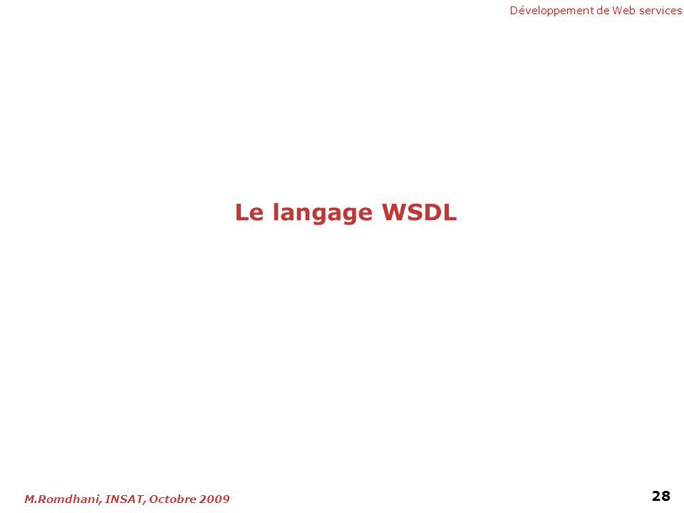 Développement de Web services 28 M.Romdhani, INSAT, Octobre 2009 Le langage WSDL