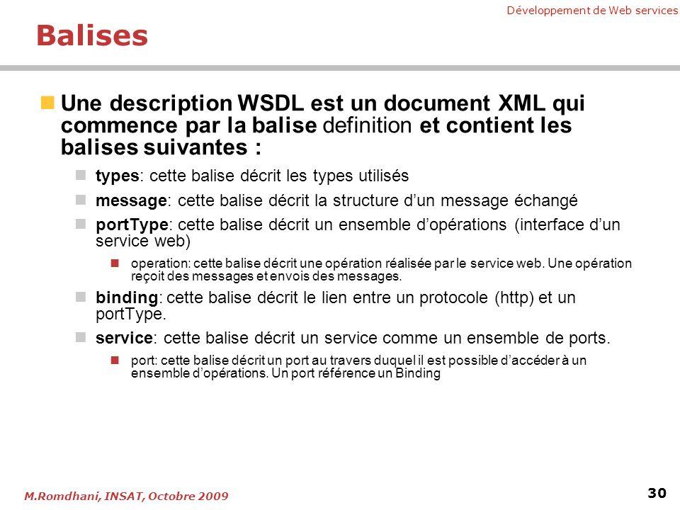 Développement de Web services 30 M.Romdhani, INSAT, Octobre 2009 Balises Une description WSDL est un document XML qui commence par la balise definitio