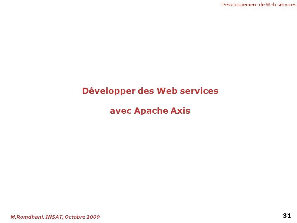 Développement de Web services 31 M.Romdhani, INSAT, Octobre 2009 Développer des Web services avec Apache Axis