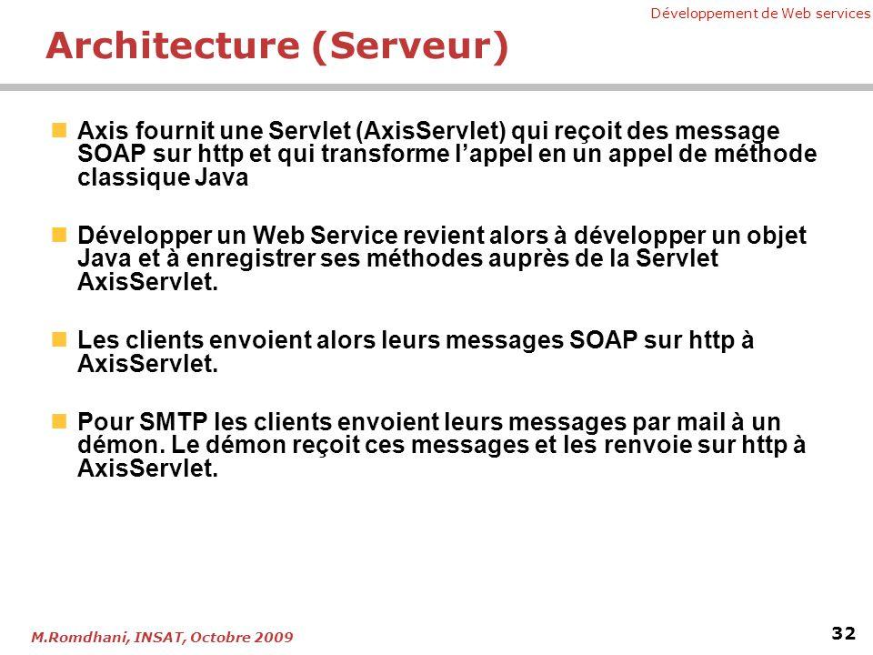 Développement de Web services 32 M.Romdhani, INSAT, Octobre 2009 Architecture (Serveur) Axis fournit une Servlet (AxisServlet) qui reçoit des message SOAP sur http et qui transforme lappel en un appel de méthode classique Java Développer un Web Service revient alors à développer un objet Java et à enregistrer ses méthodes auprès de la Servlet AxisServlet.