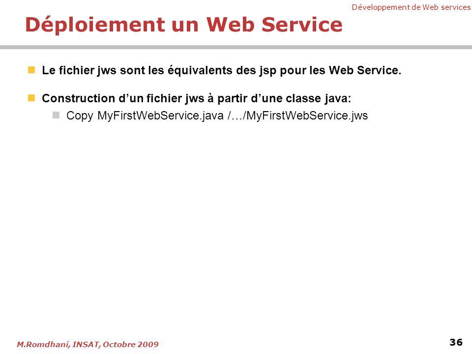Développement de Web services 36 M.Romdhani, INSAT, Octobre 2009 Déploiement un Web Service Le fichier jws sont les équivalents des jsp pour les Web S