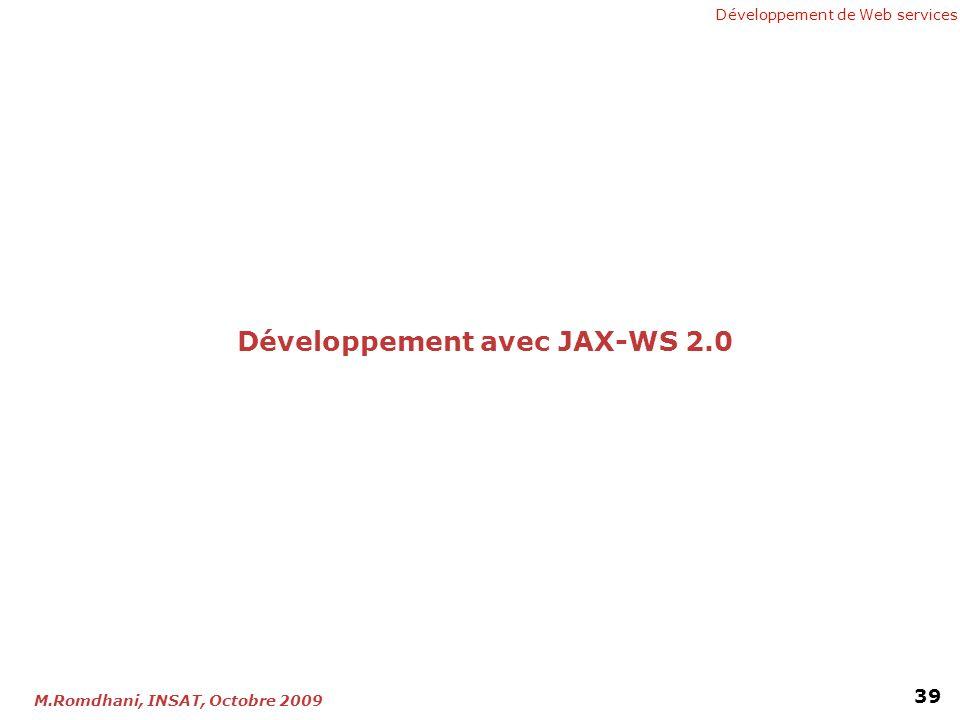 Développement de Web services 39 M.Romdhani, INSAT, Octobre 2009 Développement avec JAX-WS 2.0