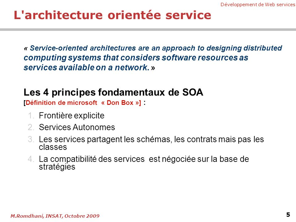 Développement de Web services 6 M.Romdhani, INSAT, Octobre 2009 Contracts Services Service State Logic Message 2 Message 1