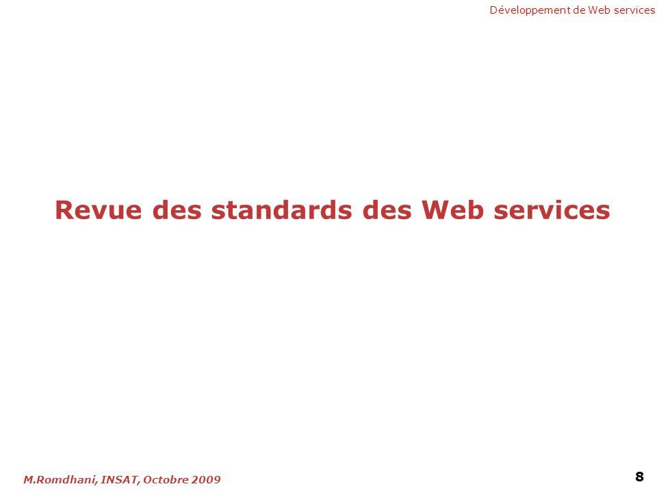 Développement de Web services 8 M.Romdhani, INSAT, Octobre 2009 Revue des standards des Web services