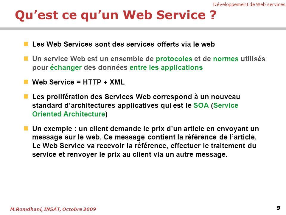 Développement de Web services 9 M.Romdhani, INSAT, Octobre 2009 Quest ce quun Web Service ? Les Web Services sont des services offerts via le web Un s