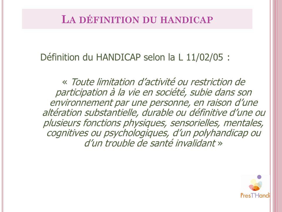 Définition du HANDICAP selon la L 11/02/05 : « Toute limitation dactivité ou restriction de participation à la vie en société, subie dans son environn