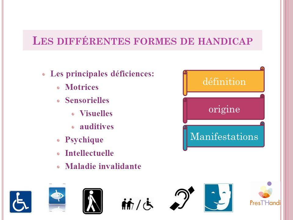 Les principales déficiences: Motrices Sensorielles Visuelles auditives Psychique Intellectuelle Maladie invalidante L ES DIFFÉRENTES FORMES DE HANDICA