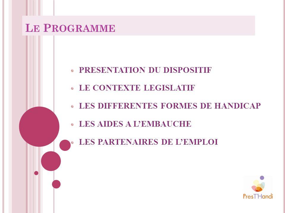 PRESENTATION DU DISPOSITIF LE CONTEXTE LEGISLATIF LES DIFFERENTES FORMES DE HANDICAP LES AIDES A LEMBAUCHE LES PARTENAIRES DE LEMPLOI L E P ROGRAMME