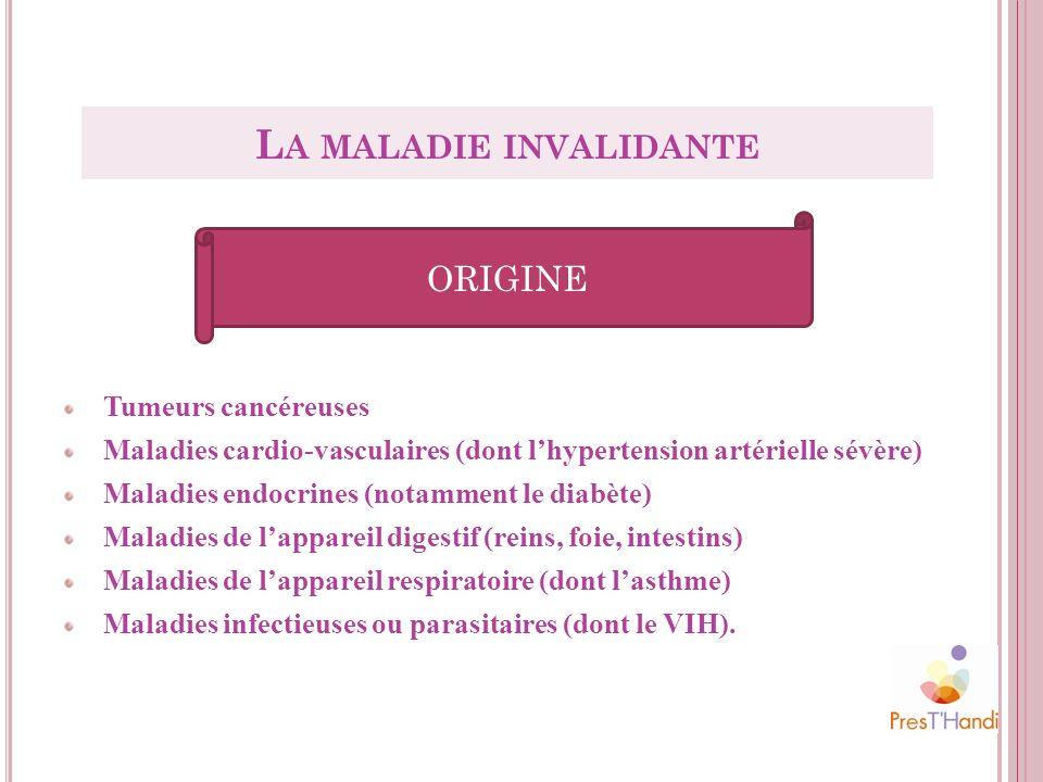 Tumeurs cancéreuses Maladies cardio-vasculaires (dont lhypertension artérielle sévère) Maladies endocrines (notamment le diabète) Maladies de lapparei