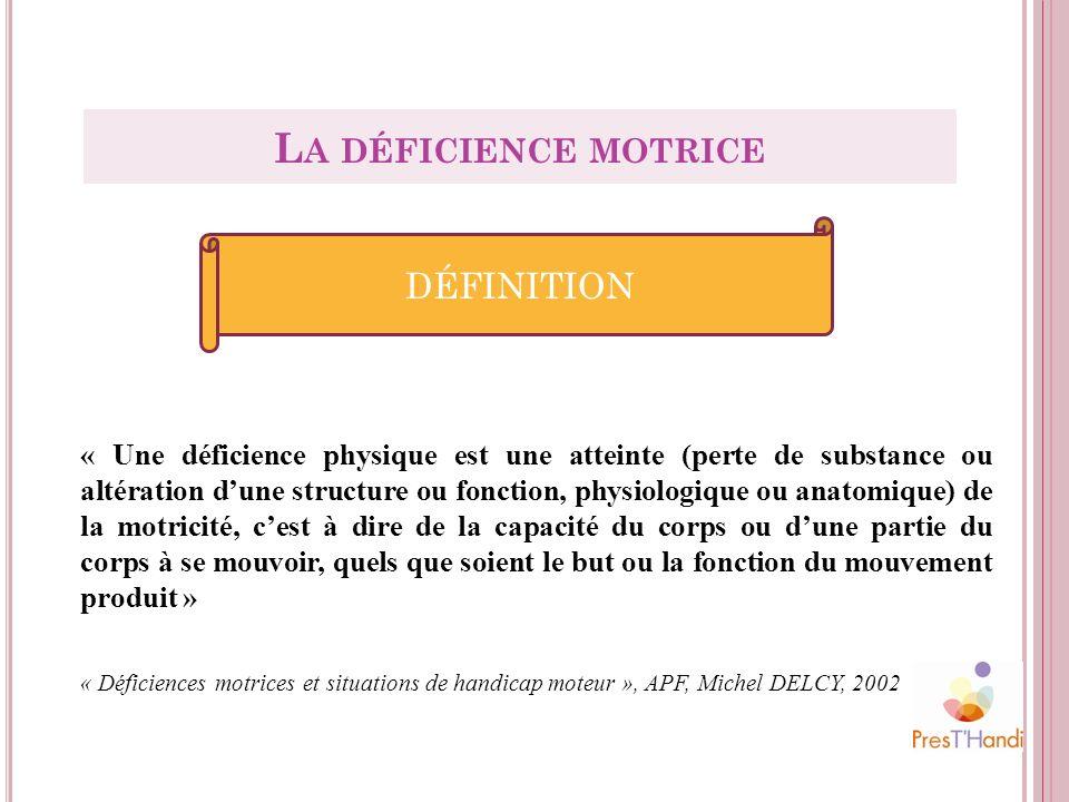« Une déficience physique est une atteinte (perte de substance ou altération dune structure ou fonction, physiologique ou anatomique) de la motricité,