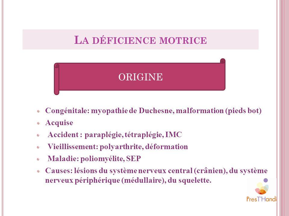 Congénitale: myopathie de Duchesne, malformation (pieds bot) Acquise Accident : paraplégie, tétraplégie, IMC Vieillissement: polyarthrite, déformation