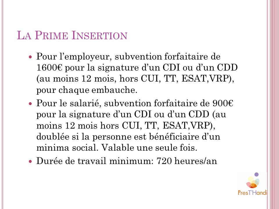 L A P RIME I NSERTION Pour lemployeur, subvention forfaitaire de 1600 pour la signature dun CDI ou dun CDD (au moins 12 mois, hors CUI, TT, ESAT,VRP),