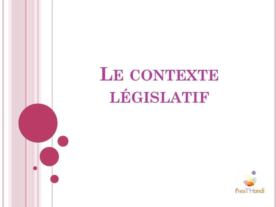 L E CONTEXTE LÉGISLATIF