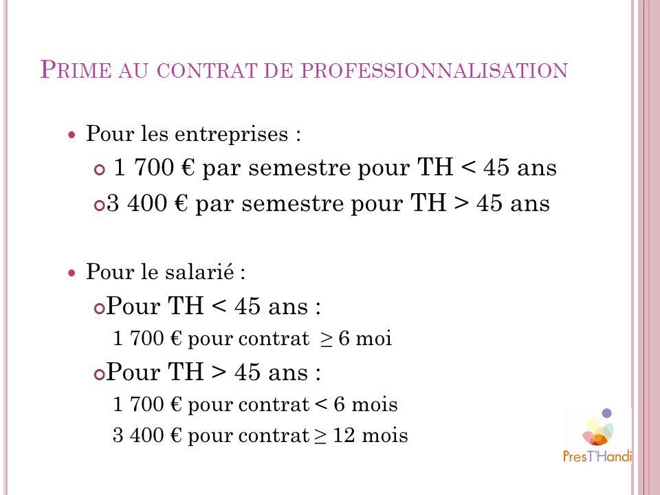 P RIME AU CONTRAT DE PROFESSIONNALISATION Pour les entreprises : 1 700 par semestre pour TH < 45 ans 3 400 par semestre pour TH > 45 ans Pour le salar