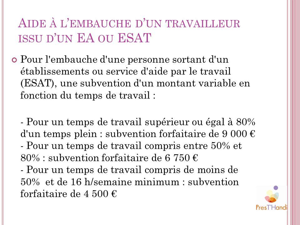 A IDE À L EMBAUCHE D UN TRAVAILLEUR ISSU D UN EA OU ESAT Pour l'embauche d'une personne sortant d'un établissements ou service d'aide par le travail (