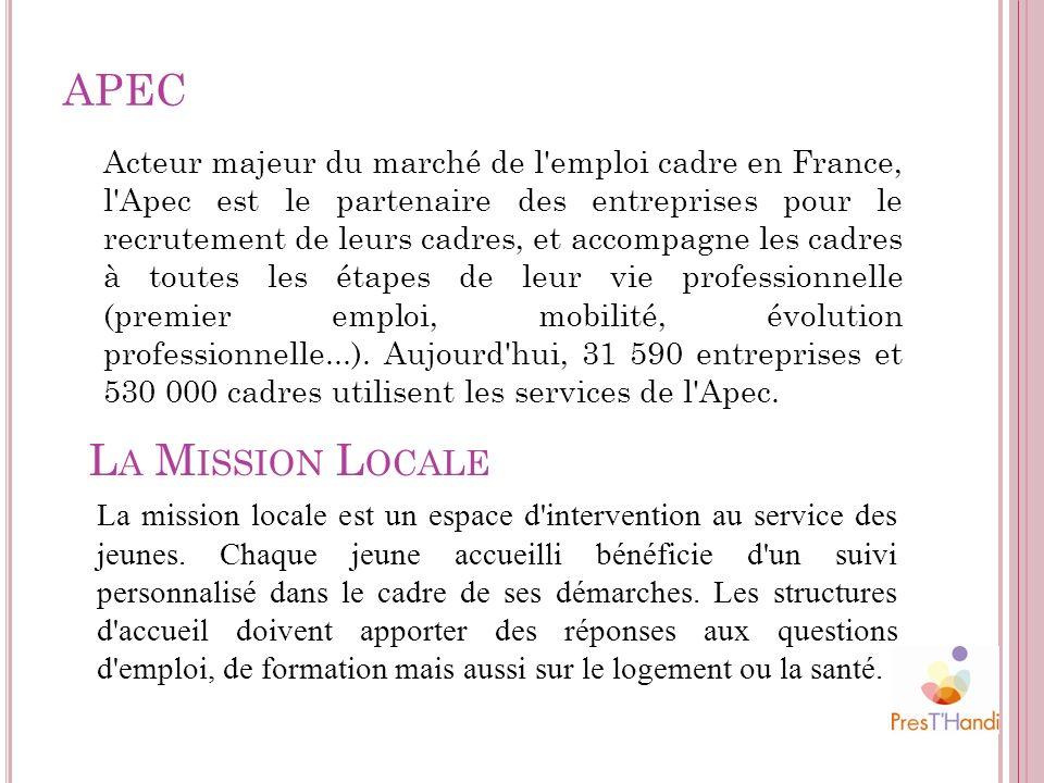 APEC Acteur majeur du marché de l'emploi cadre en France, l'Apec est le partenaire des entreprises pour le recrutement de leurs cadres, et accompagne