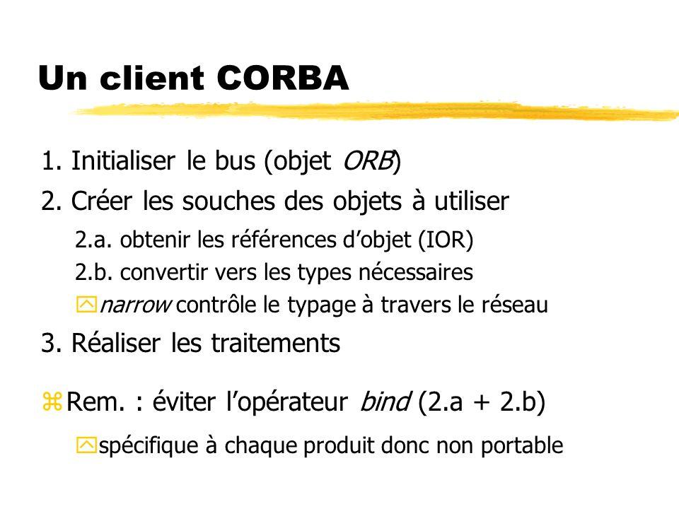 Un client CORBA 1. Initialiser le bus (objet ORB) 2. Créer les souches des objets à utiliser 2.a. obtenir les références dobjet (IOR) 2.b. convertir v