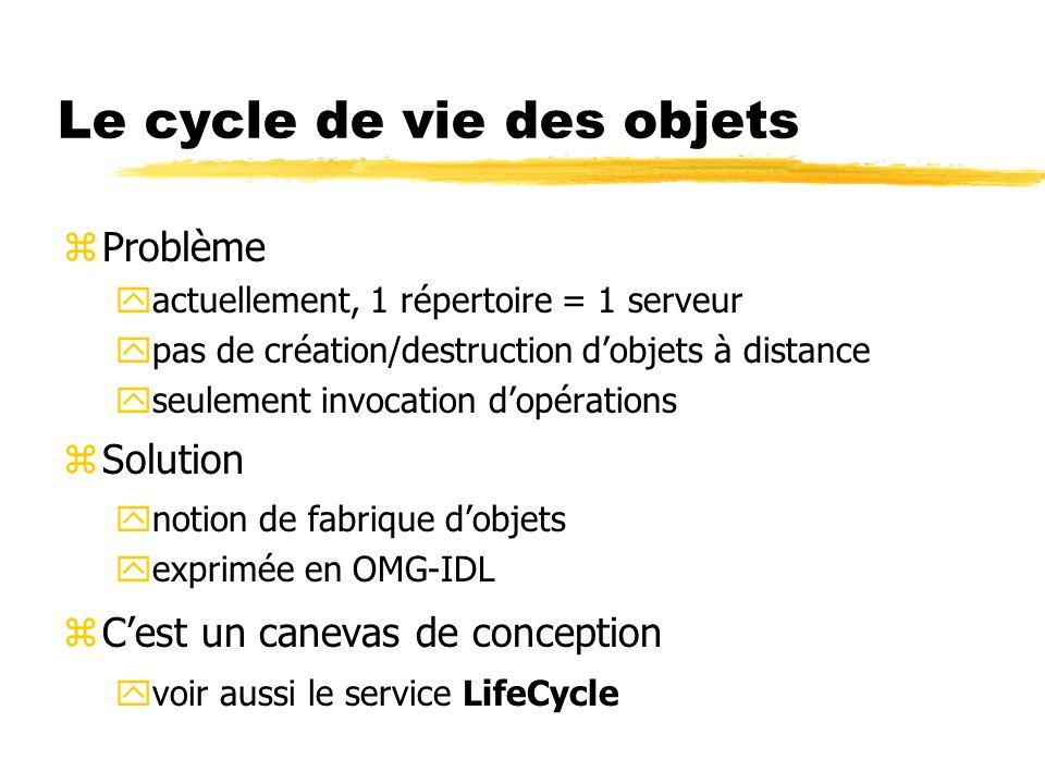 Le cycle de vie des objets zProblème yactuellement, 1 répertoire = 1 serveur ypas de création/destruction dobjets à distance yseulement invocation dop