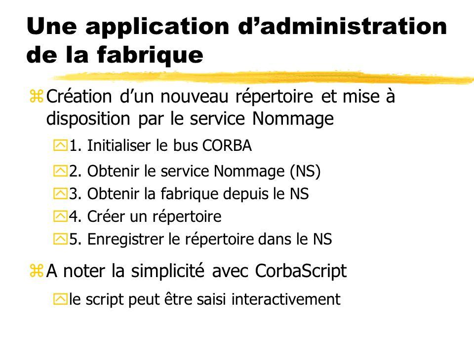 Une application dadministration de la fabrique zCréation dun nouveau répertoire et mise à disposition par le service Nommage y1. Initialiser le bus CO