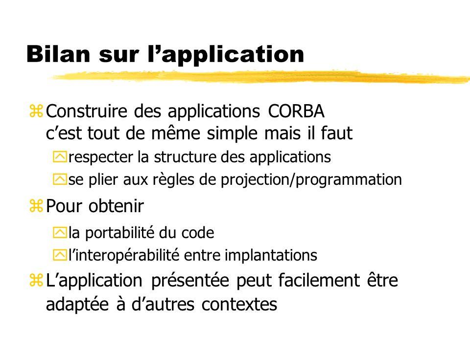 Bilan sur lapplication zConstruire des applications CORBA cest tout de même simple mais il faut yrespecter la structure des applications yse plier aux