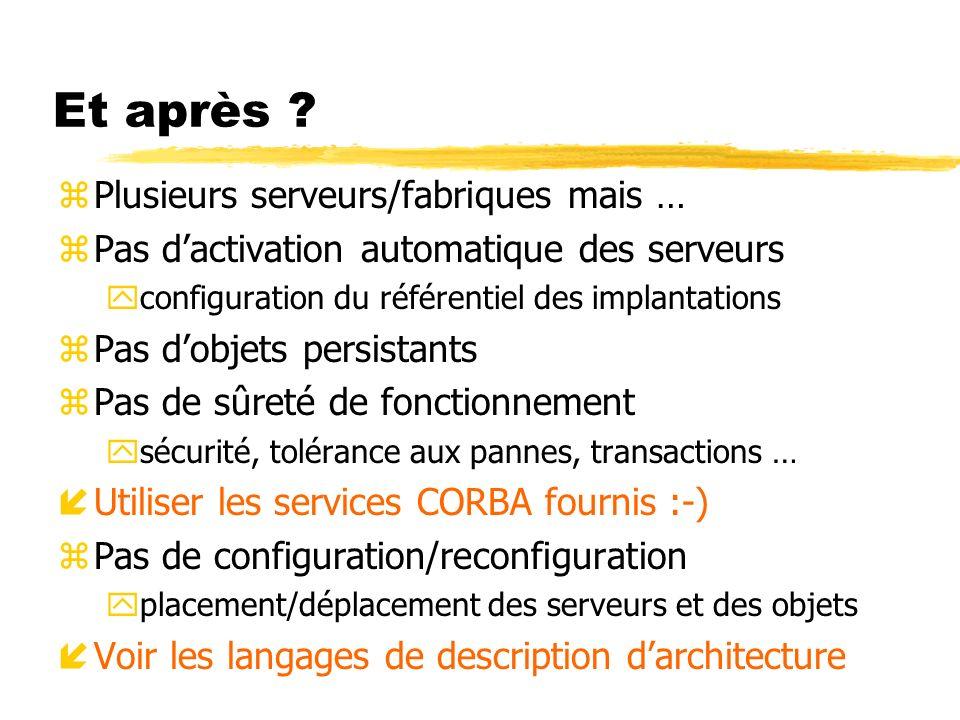 Et après ? zPlusieurs serveurs/fabriques mais … zPas dactivation automatique des serveurs yconfiguration du référentiel des implantations zPas dobjets
