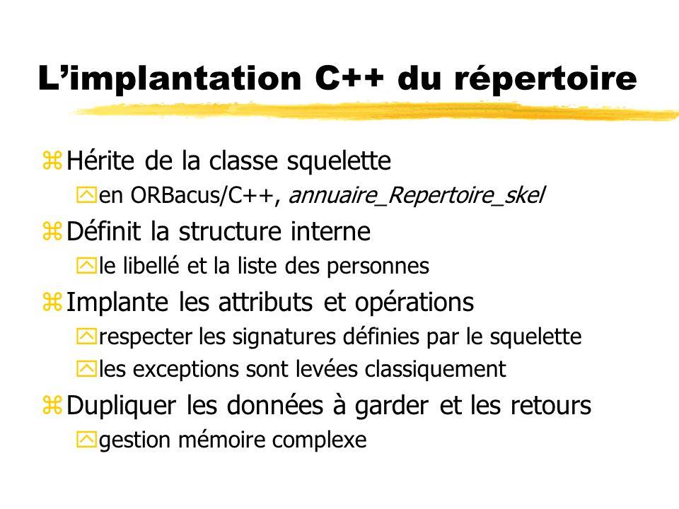 Limplantation C++ du répertoire zHérite de la classe squelette yen ORBacus/C++, annuaire_Repertoire_skel zDéfinit la structure interne yle libellé et
