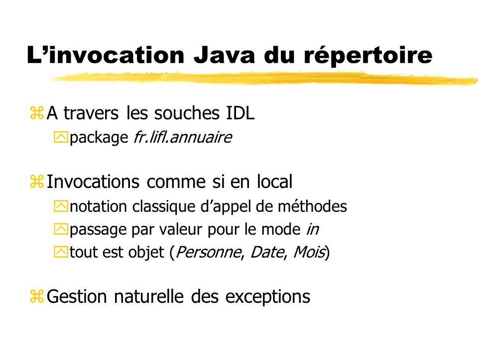 Linvocation Java du répertoire zA travers les souches IDL ypackage fr.lifl.annuaire zInvocations comme si en local ynotation classique dappel de métho