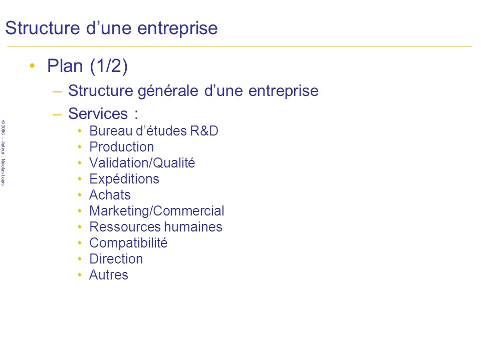 © 2006 – Auteur : Nicolas Louis Structure dune entreprise Services pour commencer –Scénarii possibles B.E.ProductionMise sur le marché VOUS Ent1 Idée Ent2 Ent3 Ent1 VOUS Ent1 VOUS Ent1 VOUS Ent1 VOUS -- Capitaux initiaux ++++