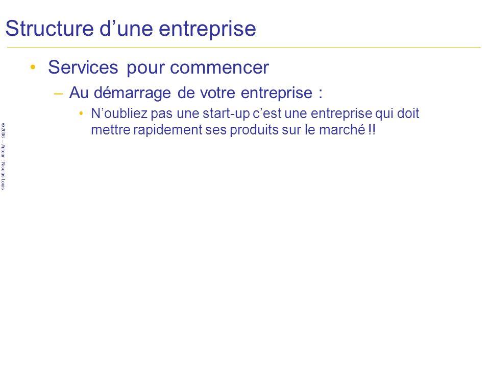 © 2006 – Auteur : Nicolas Louis Structure dune entreprise Services pour commencer –Au démarrage de votre entreprise : Noubliez pas une start-up cest u