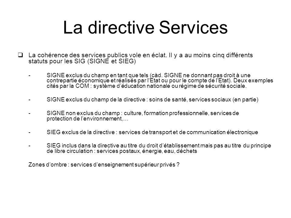 La directive Services La cohérence des services publics vole en éclat.