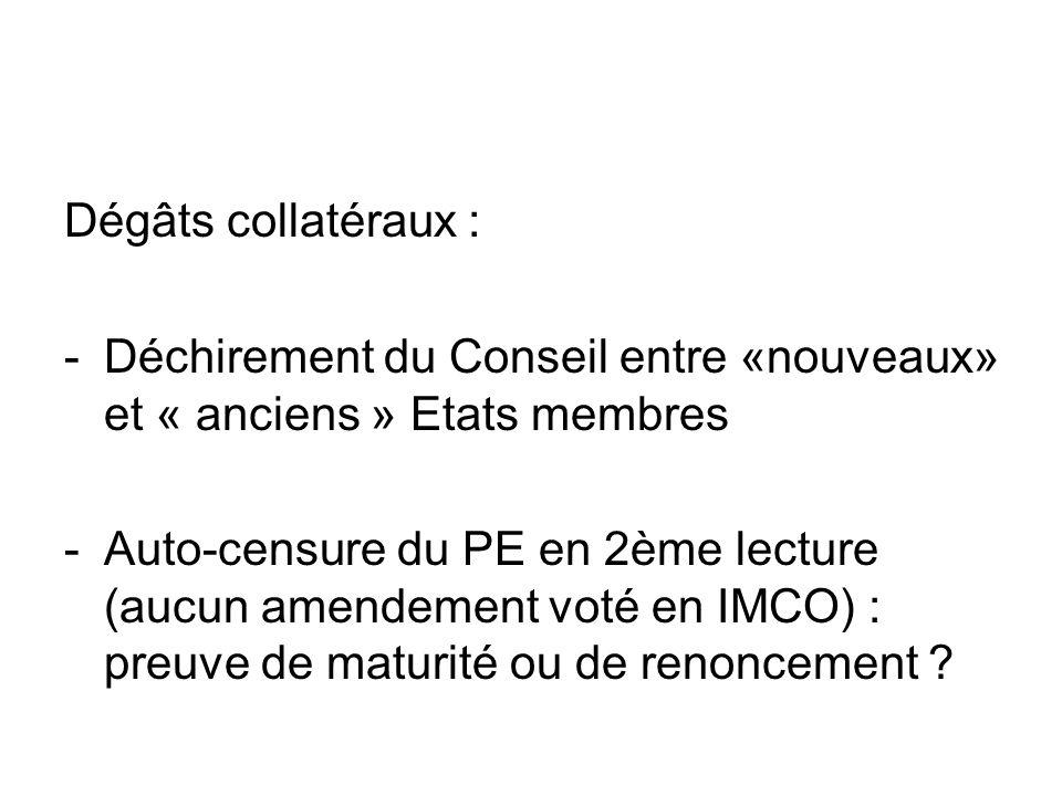 Dégâts collatéraux : -Déchirement du Conseil entre «nouveaux» et « anciens » Etats membres -Auto-censure du PE en 2ème lecture (aucun amendement voté en IMCO) : preuve de maturité ou de renoncement ?
