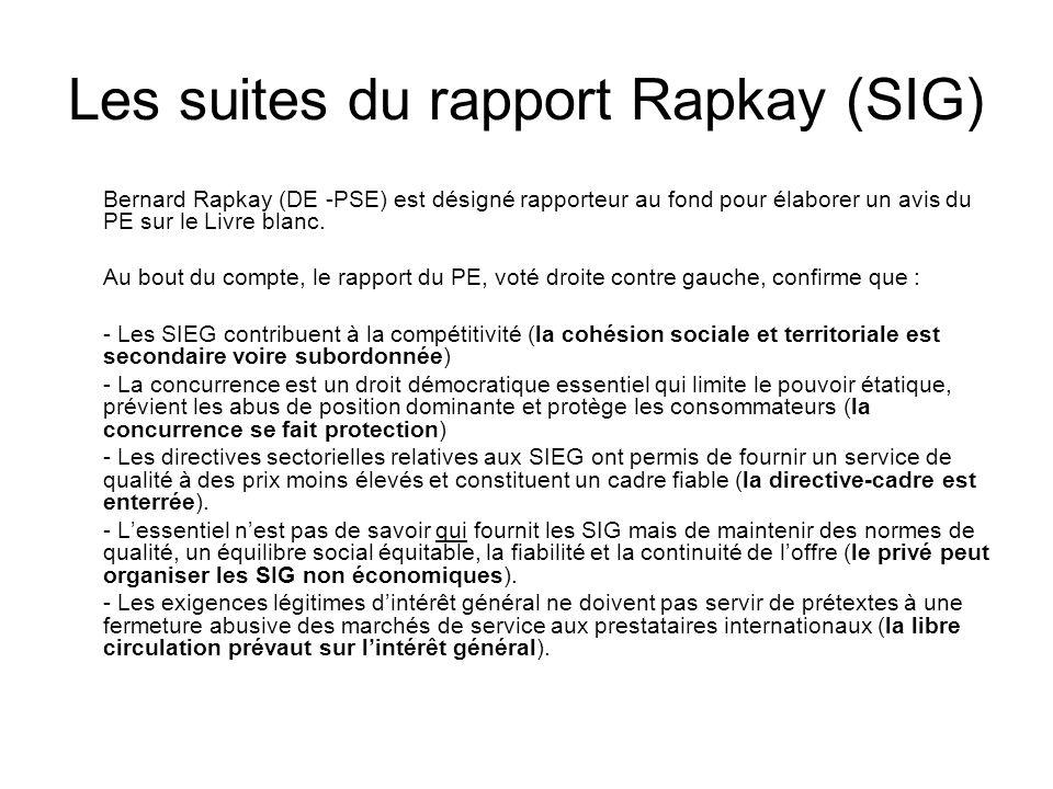 Les suites du rapport Rapkay (SIG) Bernard Rapkay (DE -PSE) est désigné rapporteur au fond pour élaborer un avis du PE sur le Livre blanc.