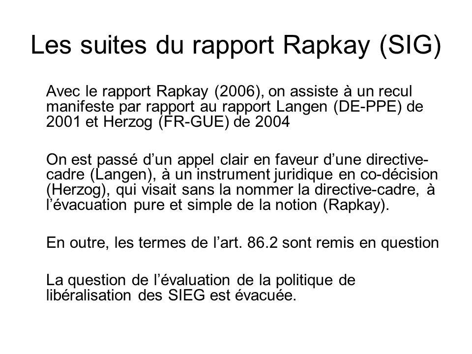 Les suites du rapport Rapkay (SIG) Avec le rapport Rapkay (2006), on assiste à un recul manifeste par rapport au rapport Langen (DE-PPE) de 2001 et Herzog (FR-GUE) de 2004 On est passé dun appel clair en faveur dune directive- cadre (Langen), à un instrument juridique en co-décision (Herzog), qui visait sans la nommer la directive-cadre, à lévacuation pure et simple de la notion (Rapkay).