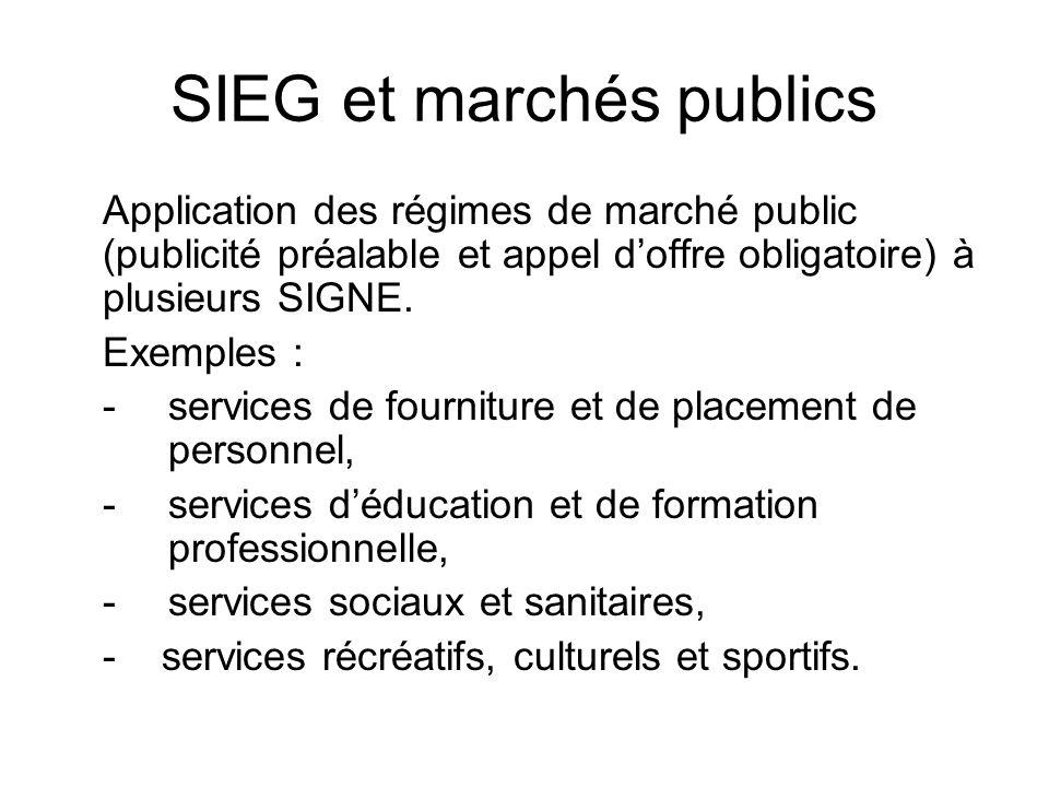 SIEG et marchés publics Application des régimes de marché public (publicité préalable et appel doffre obligatoire) à plusieurs SIGNE.